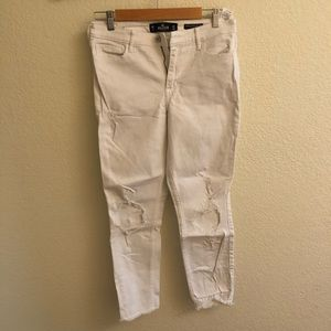 hollister co white distressed skinny jeans